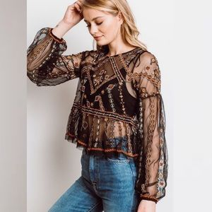 NEW Free People Give a Little embroidered mesh top